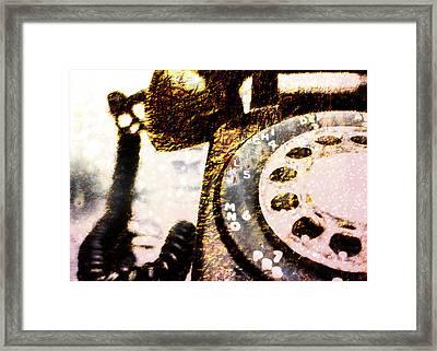 Gold Rotary Phone Framed Print by Jon Woodhams