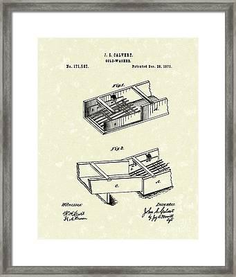 Gold-washer 1876 Patent Art Framed Print by Prior Art Design