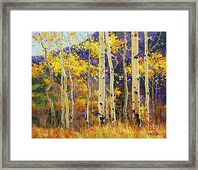 Golden Aspen W. Mystical Purple Framed Print by Gary Kim