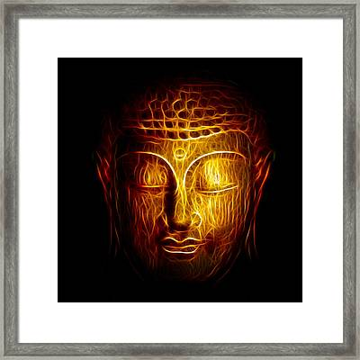 Golden Buddha Abstract Framed Print by Adam Romanowicz