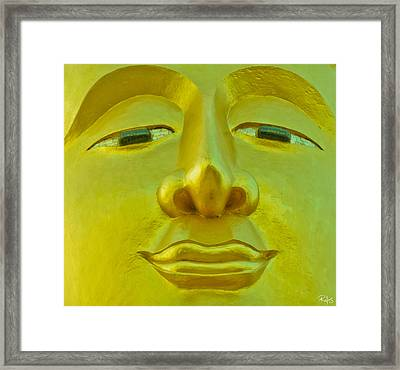 Golden Buddha Smile Framed Print by Allan Rufus
