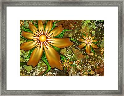 Golden Flowers Framed Print by Peggi Wolfe