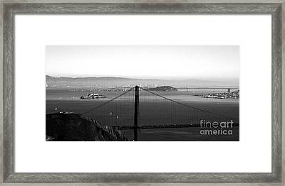 Golden Gate And Bay Bridges Framed Print by Linda Woods