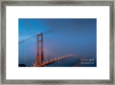 Golden Gate At Blue Hour Framed Print by Along The Trail