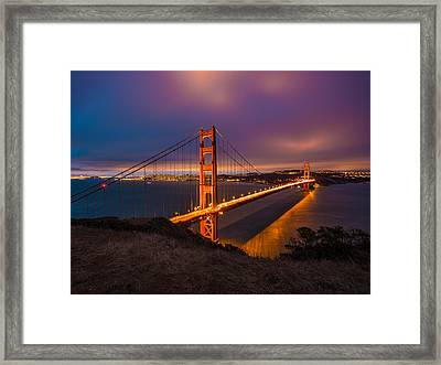 Golden Gate At Twilight Framed Print by Mike Lee