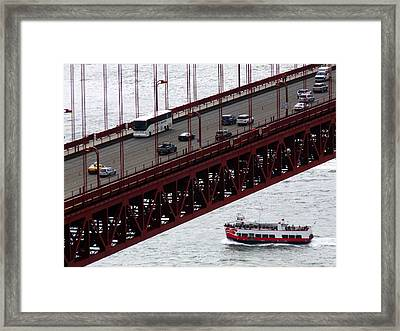 Golden Gate Bridge Aerial Tour Boat Framed Print by Jeff Lowe