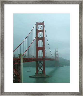 Golden Gate Bridge And Partial Arch In Color  Framed Print by Connie Fox