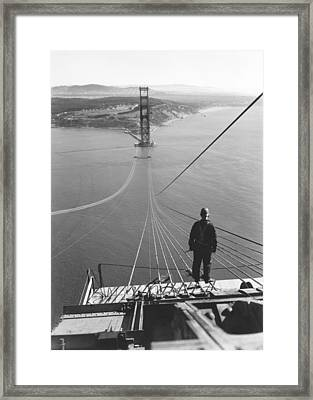Golden Gate Bridge Cables Framed Print by Underwood Archives
