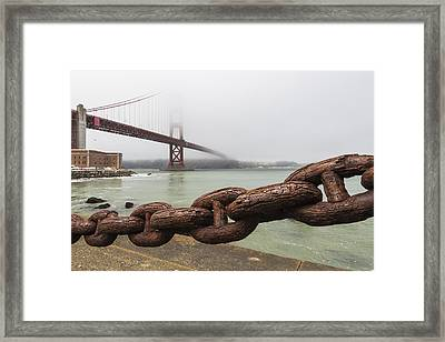 Golden Gate Bridge Chain Framed Print by Adam Romanowicz