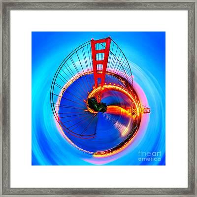 Golden Gate Bridge Circagraph Framed Print by Az Jackson