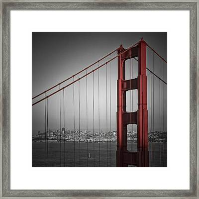 Golden Gate Bridge - Downtown View Framed Print by Melanie Viola