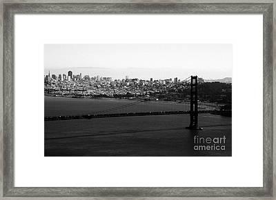 Golden Gate Bridge In Black And White Framed Print by Linda Woods