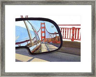 Golden Gate Bridge In Side View Mirror Framed Print by Mary Helmreich