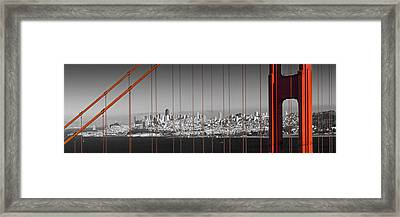 Golden Gate Bridge Panoramic Downtown View Framed Print by Melanie Viola