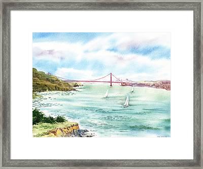 Golden Gate Bridge View From Point Bonita Framed Print by Irina Sztukowski