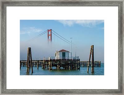 Golden Gate In The Fog Framed Print by Bill Gallagher