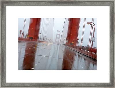 Golden Gate Rain Framed Print by Daniel Furon