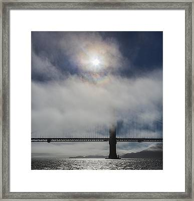 Golden Gate Silhouette And Rainbow Framed Print by Scott Campbell