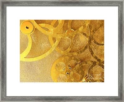 Golden Gears Background Framed Print by Tomislav Zivkovic