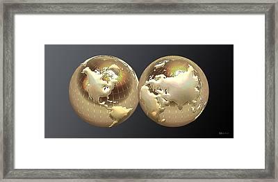 Golden Globes - Eastern And Western Hemispheres On Black Framed Print by Serge Averbukh