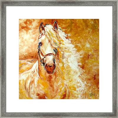 Golden Grace Equine Abstract Framed Print by Marcia Baldwin