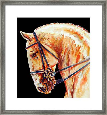 Golden Horse Head In Black Framed Print by Jose Espinoza