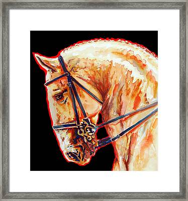 Golden Horse Portrait In Black 2 Framed Print by Jose Espinoza
