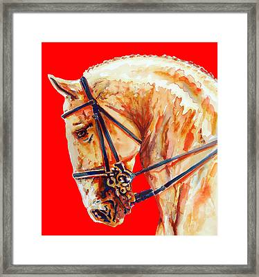 Golden Horse In Red Framed Print by Jose Espinoza