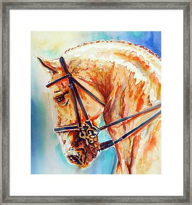 Golden Horse Portrait Framed Print by Jose Espinoza