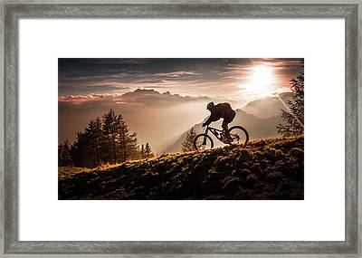 Golden Hour Biking Framed Print by Sandi Bertoncelj