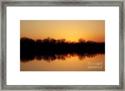 Golden Lake Reflections Framed Print by R McLellan