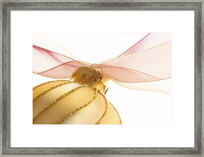 Golden Ornament With Red Ribbon High Key Framed Print by Carol Leigh