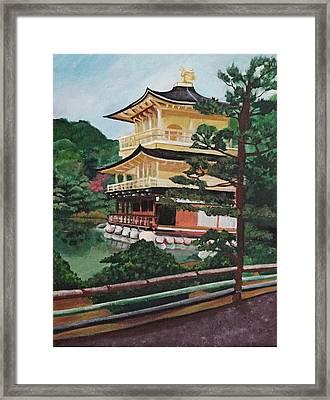 Golden Pavilion Framed Print by Michelle Erin Dominado