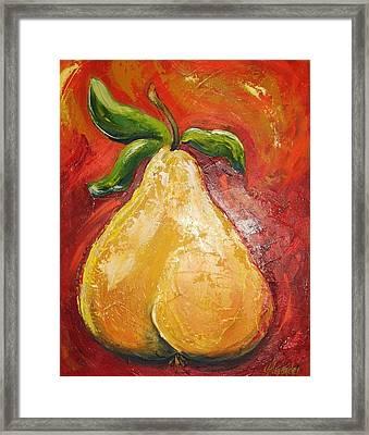 Golden Pear On Red Framed Print by Jill Alexander