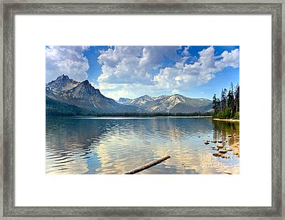 Golden Reflections On Stanley  Lake Framed Print by Robert Bales