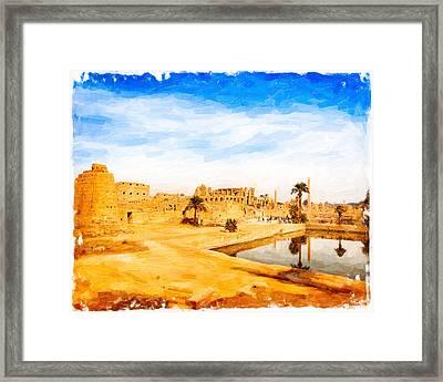 Golden Ruins Of Karnak Framed Print by Mark E Tisdale