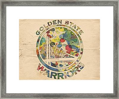 Golden State Warriors Logo Art Framed Print by Florian Rodarte
