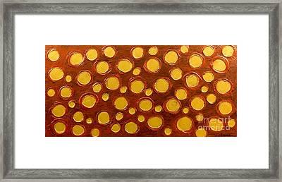 Golden Sunlight - Abstract Oil Painting Original Metallic Gold Textured Modern Contemporary Art Framed Print by Emma Lambert