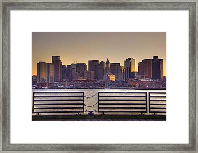 Golden Sunset Over Boston Framed Print by Joann Vitali