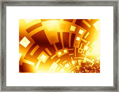 Golden Swirly Circuitboard Framed Print by Hakon Soreide