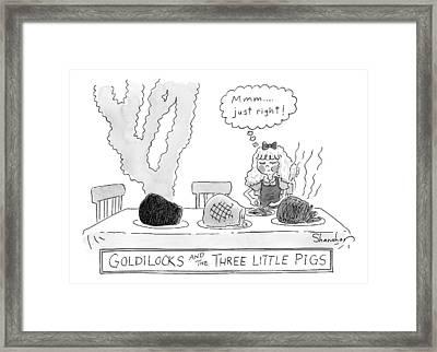 Goldilocks And The Three Little Pigs Framed Print by Danny Shanahan