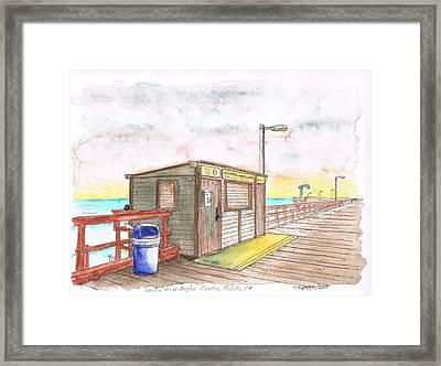 Goleta Pier Angler Center - Goleta Beach - California Framed Print by Carlos G Groppa