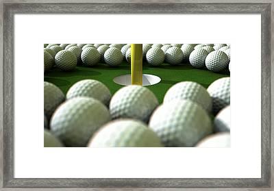 Golf Ball Hole Assault Framed Print by Allan Swart