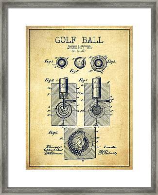 Golf Ball Patent Drawing From 1902 - Vintage Framed Print by Aged Pixel
