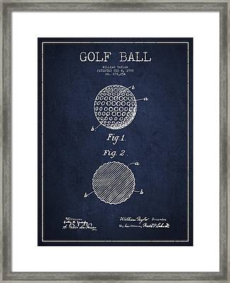 Golf Ball Patent Drawing From 1908 - Navy Blue Framed Print by Aged Pixel