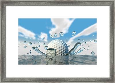 Golf Ball Water Splash Framed Print by Allan Swart