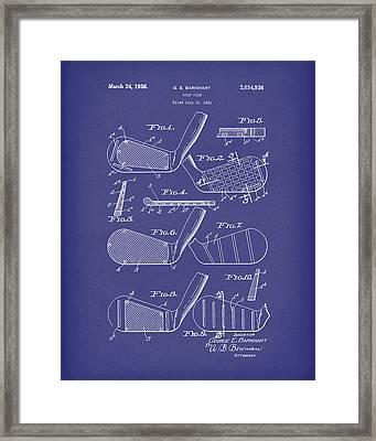 Golf Club 1936 Patent Art Blue Framed Print by Prior Art Design