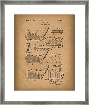 Golf Club 1936 Patent Art Brown Framed Print by Prior Art Design