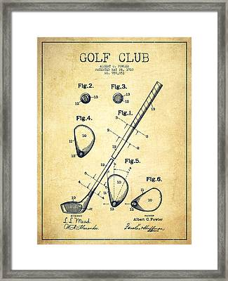 Golf Club Patent Drawing From 1910 - Vintage Framed Print by Aged Pixel