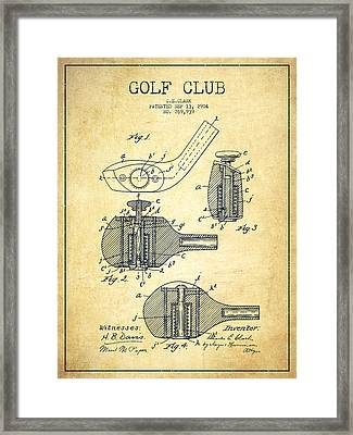 Golf Clubs Patent Drawing From 1904 - Vintage Framed Print by Aged Pixel
